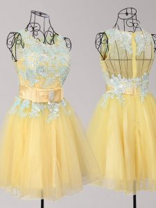 Glorious Scoop Mini Length Zipper Prom Gown Yellow for Prom and Party with Appliques and Bowknot