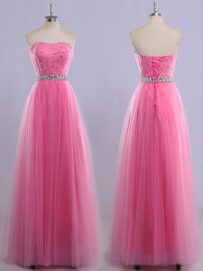 Best Selling Sweetheart Sleeveless Evening Dress Floor Length Beading Rose Pink Tulle