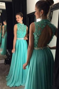 Turquoise A-line Chiffon Scoop Sleeveless Beading and Lace Floor Length Backless Prom Dress