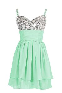 Chiffon Sweetheart Sleeveless Zipper Beading and Ruching Prom Gown in Apple Green