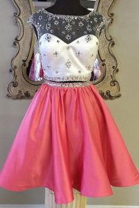Luxurious Rose Pink Prom Party Dress Prom and Party with Sashes ribbons Bateau Cap Sleeves Zipper