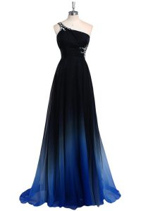 Super One Shoulder Navy Blue Criss Cross Evening Dress Beading Sleeveless Floor Length