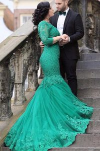 Mermaid With Train Lace Up Prom Gown Green for Prom with Beading and Appliques Chapel Train