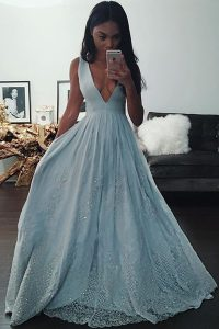 Sleeveless Floor Length Beading and Lace Zipper with Light Blue