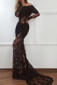 Elegant Mermaid Off The Shoulder Long Sleeves Prom Gown With Train Court Train Lace Black Lace
