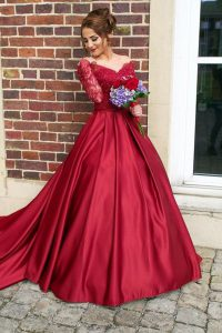 Excellent Off the Shoulder Burgundy Zipper Evening Dress Appliques Long Sleeves With Train Sweep Train