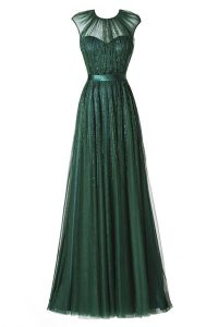 High Class Scoop Pleated Dark Green Cap Sleeves Tulle Zipper Prom Party Dress for Prom