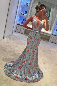 Fantastic Mermaid Blue Dress for Prom Prom with Bowknot V-neck Sleeveless Sweep Train Zipper