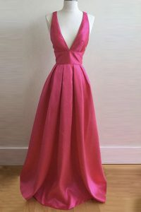 Glorious Pleated A-line Prom Gown Hot Pink V-neck Satin Sleeveless Floor Length Criss Cross
