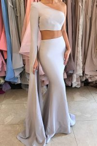 Silver Mermaid Elastic Woven Satin One Shoulder Long Sleeves Ruching Floor Length Side Zipper Prom Gown