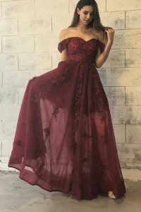 Low Price Off the Shoulder Floor Length A-line Short Sleeves Burgundy Prom Party Dress Zipper