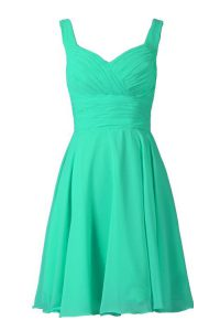Delicate Turquoise A-line Chiffon Off The Shoulder Sleeveless Pleated Knee Length Zipper Prom Gown