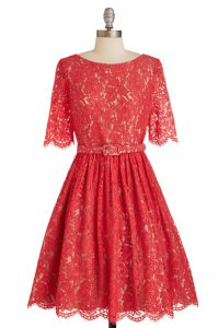 Superior Red A-line Lace Scoop Short Sleeves Belt Knee Length Zipper Prom Dress
