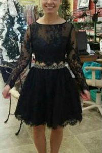 Dramatic A-line Prom Gown Black Scoop Lace Long Sleeves Knee Length Backless