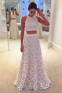 Stylish Scoop Lace Sleeveless Floor Length Prom Dresses and Lace