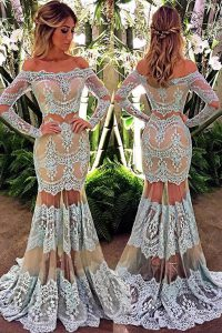 White Mermaid Lace Off The Shoulder Long Sleeves Lace Floor Length Zipper Prom Dress