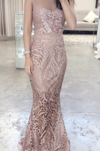 Excellent Scoop Pink Mermaid Lace Zipper Lace Sleeveless Floor Length
