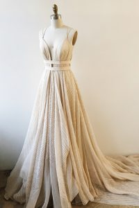 With Train Backless Champagne for Prom with Lace and Sashes ribbons Court Train
