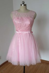 Scoop Lace and Bowknot Pink Backless Sleeveless Knee Length