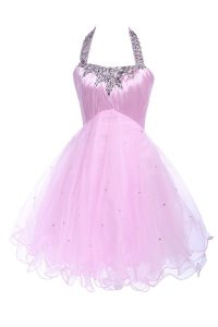 Cheap Lilac Ball Gowns Halter Top Sleeveless Tulle Knee Length Lace Up Beading Prom Party Dress
