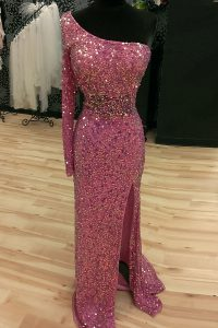 Mermaid Lilac One Shoulder Neckline Sequins Prom Evening Gown Long Sleeves Backless