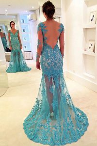 Top Selling Mermaid Long Sleeves Lace With Brush Train Backless in Blue with Lace