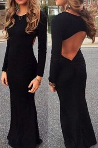 Mermaid Scoop Floor Length Backless Prom Party Dress Black for Prom and Party with Ruching