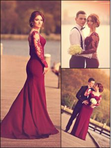 Best Burgundy Zipper Prom Evening Gown Lace and Appliques Long Sleeves With Train Court Train
