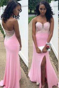 Glamorous Mermaid Rose Pink Sleeveless Chiffon Backless Prom Party Dress for Prom and Party