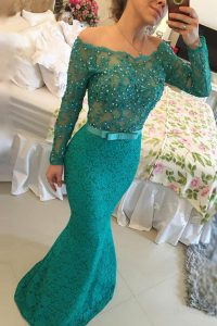 Mermaid Off The Shoulder Long Sleeves Lace Prom Evening Gown Beading Side Zipper