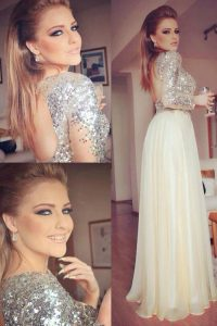 Super Champagne Column/Sheath Scoop Long Sleeves Organza and Sequined Floor Length Backless Sequins Dress for Prom