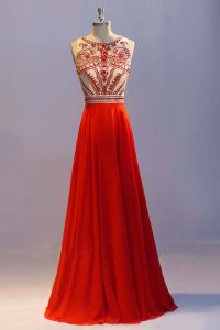 Cheap Scoop Sleeveless Floor Length Beading and Pleated Side Zipper Evening Dress with Coral Red