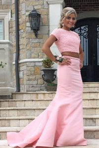 Customized Sweep Train Mermaid Homecoming Dress Rose Pink Scoop Satin Sleeveless Backless