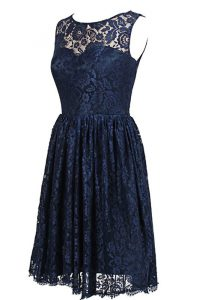 Colorful Scoop Sleeveless Zipper Prom Dress Navy Blue Lace
