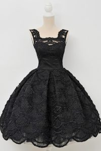 Ideal A-line Prom Party Dress Black Square Lace Sleeveless Knee Length Zipper