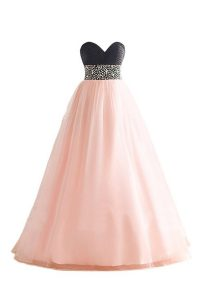Exceptional Floor Length A-line Sleeveless Pink And Black Lace Up