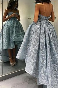 Glorious Sleeveless High Low Lace Backless Prom Dress with Grey