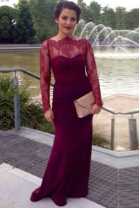 Fantastic Scalloped Fuchsia Long Sleeves Elastic Woven Satin Brush Train Clasp Handle Prom Dresses for Prom and Party