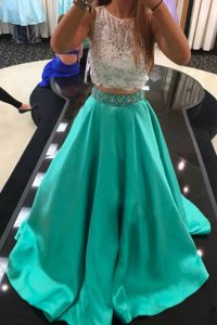 Super Scoop Beading and Lace Prom Party Dress Turquoise Zipper Sleeveless With Train