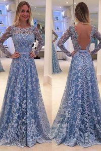 Blue Scoop Neckline Lace Prom Evening Gown Long Sleeves Backless