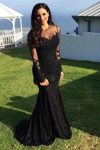 Mermaid Black Scoop Zipper Beading and Lace Prom Evening Gown Sweep Train Long Sleeves