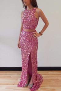 Flirting Mermaid Lilac Backless Scoop Sequins Prom Dress Sequined Sleeveless Sweep Train