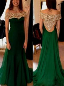 Fashionable Off the Shoulder Short Sleeves Chiffon Sweep Train Side Zipper Prom Party Dress in Dark Green with Beading and Pleated
