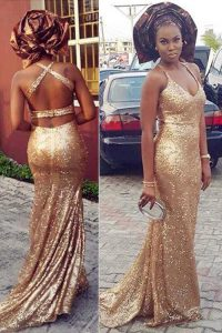 Enchanting Halter Top Gold Column/Sheath Sequins Homecoming Dress Criss Cross Sequined Sleeveless With Train