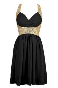 Gorgeous Chiffon V-neck Sleeveless Criss Cross Sequins Evening Dress in Black