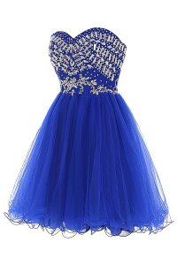 Beading Prom Dresses Royal Blue Zipper Sleeveless Mini Length