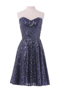 Sleeveless Knee Length Sequins Lace Up Red Carpet Prom Dress with Navy Blue