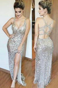 Mermaid V-neck Sleeveless Prom Evening Gown Floor Length Sequins Silver Sequined