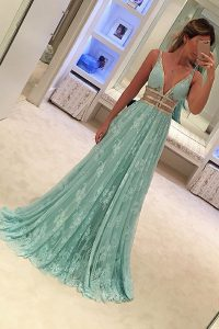 Great Apple Green A-line Lace V-neck Sleeveless Beading Zipper Prom Evening Gown Sweep Train