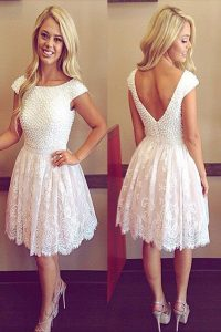 Beauteous Scoop Knee Length White Lace Cap Sleeves Lace